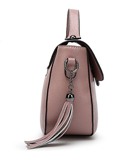 Xinmaoyuan Borse donna in pelle borsa Messenger Ladies Ladies Bag Borsa a tracolla Borsa Fiocco di colore solido borsetta con chiusura lampo,Balck Rosa