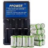 Ppower PBE 12 x 700 mAh 3.7 V CR123 A 16340 batterie Li-Ion + ppower Chargeur intelligent rapide Li-Ion rechargeable 4 Slots (PI4) + Batterie Boîte P-Power (2017 Version mise à jour)