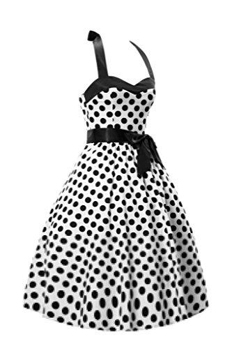marloca Classy style vintage Motif pois femmes rockabilly robe Swing Noir - Noir