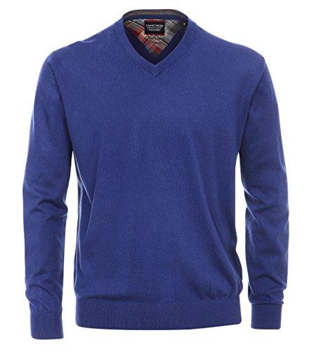 Casa Moda - Unifarbener Herren Pullover mit V-Ausschnitt und Cashmere Anteil in verschiedenen Farben (452268200 A), Größe:XL;Farbe:Blau (133)