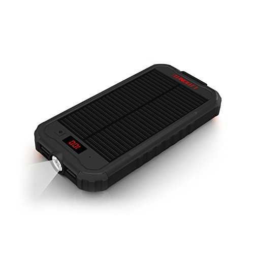 Litionite mazone 12000mah power bank con pannello solare - caricabatterie portatile con display e torcia a led - 2x usb - bumper per protezione a 360° e materiale antiscivolo