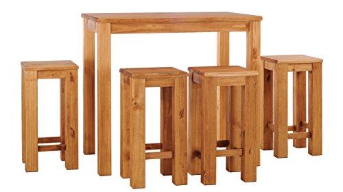 Brasilmoebel® Hochtisch Rio Classico 160 x 90 cm + 4 x Barhocker Rio Classico Brasilmöbel Honig Pinie - Massivholz mit 33 mm durchgehend massiven Platten - aus nachhaltiger Forstwirtschaft - Esszimmertisch massiv geölt - Wohnzimmer Esszimmer Küche Küchenmöbel Sitzgruppe Esszimmergarnitur Restaurant Esszimmergruppe Garnitur Holz Echtholz Sitzgarnitur Massivholztisch - optional Ansteckplatten - in anderen Farben oder Größen verfügbar