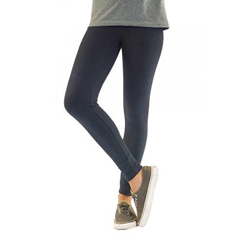 Blickdichte Damen Leggings aus Baumwolle Leggins Knöchellang in schwarz weiß grün grau rot gelb, Farbe: Graphit, Größe: 44-46