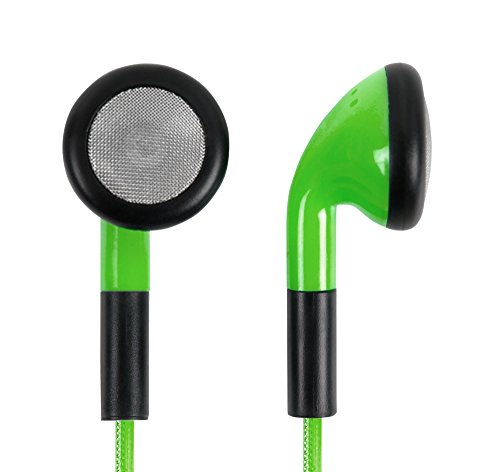 Grüne DuraGadget In-Ear Stereo Kopfhörer (mit Mikrofon und Volumen-Kontrolle) für Auna / OneConcept / Malone / The Voice / Disney die Eiskönigin Kinder Karaokeanlagen