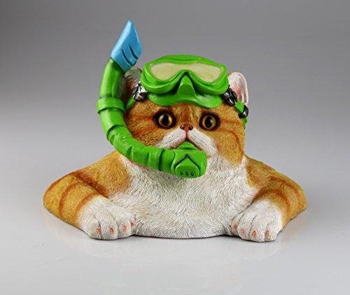 Schwimmfigur Katze mit Taucherbrille Gartenfigur Garten Figur Skulptur