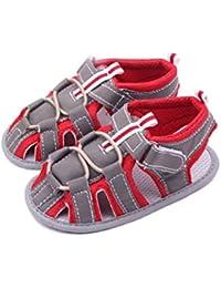 sandalias bebe niño verano Xinantime Sandalias de Punta Descubierta Para Bebés Unisexo Zapatos Bebe 0-18 Mes Casual Zapatos Suela Blanda Zapatillas Antideslizante Sandalias (12-18 meses, Rojo)