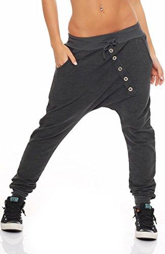 malito Damen Jogginghose mit Knopfleiste | Sporthose meliert | Baggy zum Tanzen | Sweatpants – Trainingshose 7398 (dunkelgrau)
