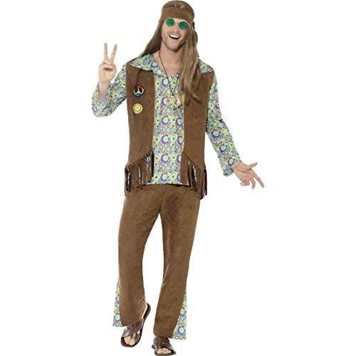 Amakando Flower Power Kostüm Mann - L (52/54) - 70er Jahre Verkleidung Männerkostüm Blumenkind Woodstock Herrenkostüm Karnevalskostüm Festival Style Hippie Outfit Herren
