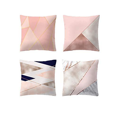 JUNGEN 4 pcs Funda de cojín del Serie Rosa con Impresión geométrica Funda de Almohada Cuadrado Funda...