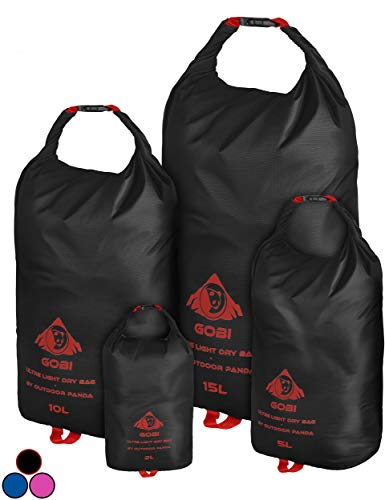 Outdoor Panda Dry Bags (Schwarz, Set (1x2L, 1x5L, 1x10L, 1x15L))