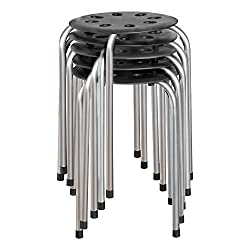 Compact Plastic and Metal Stackable Stools Set for School, Office, Primary and University Students - Black and Silver (Pack of 5)