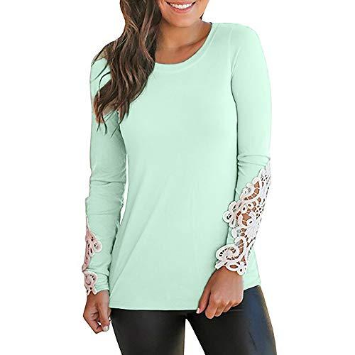 Langarm T-Shirt Tops Damen Pullover Blusen Solide Lässige Oansatz Langarm Applique Shirt Bluse LianMengMVP