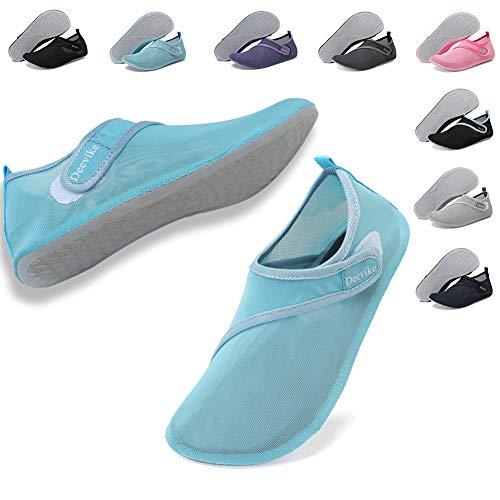 Deevike Wasser Schuhe Damen Herren Mesh Yoga Schuhe Quick-Dry Barefoot Haut Aqua Socken für Strand Schwimmen Surf Pool Übung Cyan 42/43