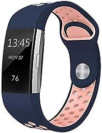 Scpink Correa de Moda,para Fitbit Charge 2 Correas, Banda de reemplazo de Silicona Suave, cómoda y Ajustable para Fitbit Charge 2 Fitness (A)