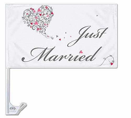 EinsSein 1x Autoflagge Autofahne Hochzeit Autodeko Fahne Just Married Dekoration Autobänder KFZ-Deko