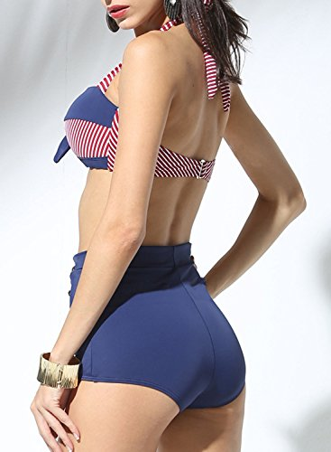 Futurino Damen Frühjahr/Sommer Vintage Retro Nautical Sailor Bügel Push Up Bikini Sets Bademode (EU42, Marine) - 3