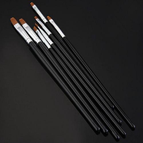 SODIAL(R) 7x Acryl UV Gel Nagel Pinsel Set Gelpinsel B¨¹rste Nail Art Design Pen Schwarz - 2