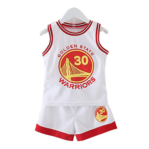 Kleine Jungen Basketball Jersey Men's JerseyNo. 30 Basketball Suit Basketball Clothing Sets for Men Tops And Shorts,Weiß,XS