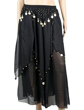 The Turkish Emporium Negro gasa falda con danza del vientre Hip bufanda cinturón disfraz de monedas de oro y perlas
