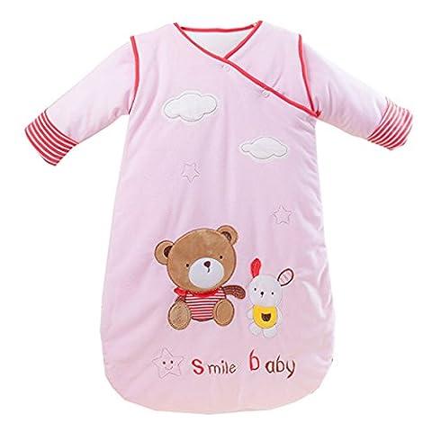 Missfly Baby Schlafsack Kinder Schlafsaecke mit abnehmbar Langarm in verschiedenen Groessen,Herbst Winter verdickte, Pink, M(Laenge:80cm)