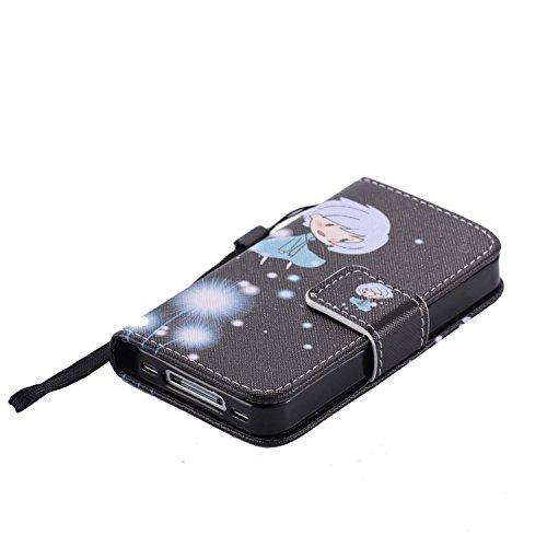 Schutzhülle für Apple iPhone 4S 4 case Wallet Leder Schale Tasche Magnet PU Hülle Handy Silikon Back Cover Etui Skin Shell Purse Portemonnaie Geldbörse(Standfunktion,Kreditkartenfach,Stylus,folie,Rein Löwenzahn Mädchen