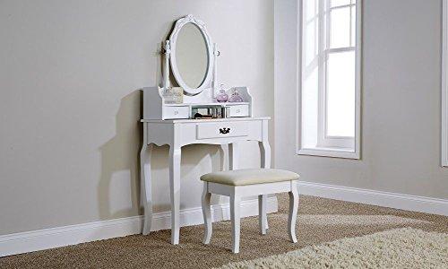 Exklusives Kiefer massiv Marke neue Lumberton (weiß antik Stil Schminktisch-Set mit gepolstertem Sitz Hocker und verstellbarem...