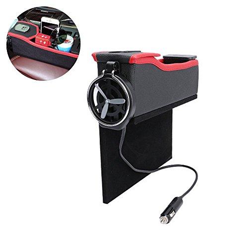 AOLVO Auto Fugendüse Aufbewahrungsbox, Autositz Container mit USB Lade-/Becherhalter/Münzhalter multi-fuctional Leder Autositz Organizer für fast alle Marken KFZ Driver (Gebläse Motor Weniger)