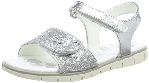 Chicco Girls' Sandalo Crema Open Toe Sandals, Silver (ARGENTO-020 020), 9UK Child
