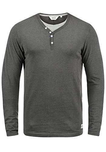 !Solid Doriano Herren Longsleeve Langarmshirt Shirt mit Grandad-Ausschnitt, Größe:3XL, Farbe:Med Grey M (8254)