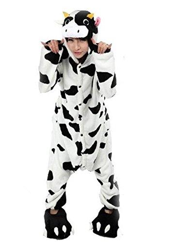 Honeystore Unisex Winter Flannel Hoodie Jumpsuit Strampler Kuh Siamesische Kleidung Pyjamas (Hoodie Erwachsene Für Minion)