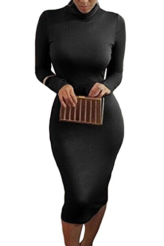 ALAIX Women Turtleneck Sexy and Warm Long Sleeve Autumn Stretch Bodycon Dresses