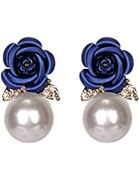 951ca1d4150ce Boucles d oreilles White Pearl vintage élégant romantique Boucles d oreilles  en strass brillant Rose Stud Oreille…