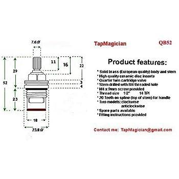 Replacement Brass Ceramic Disc Tap Cartridge Valve Quarter Turn ...