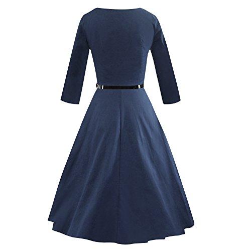 iLover klassischer WesternGirl Weinlese Audrey Hepburn Stil 1950 Rockabilly großen Saum Abendkleid NavyBlue1