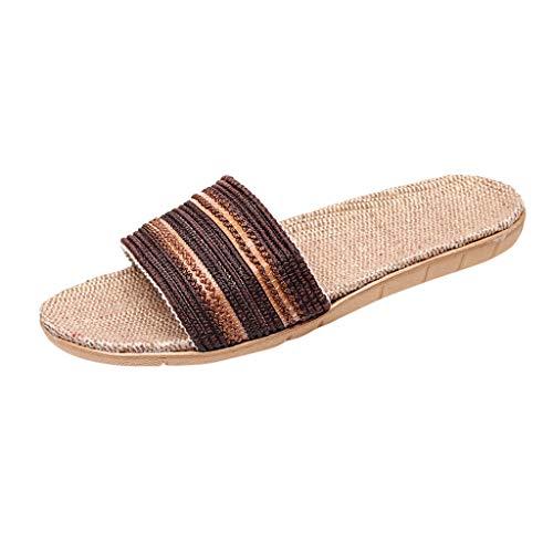 AIni Herren Schuhe,2019 Neuer Heißer Mode Beiläufiges Anti Rutsch Leinen Home Innen Offene Zehen Flache Schuhe Strand Hausschuhe Strand Partyschuhe Freizeitschuhe(44-45,Kaffee)