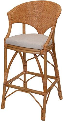 korb.outlet Barhocker/Küchenhocker aus Natur Rattan mit Gepolstertem Sitz
