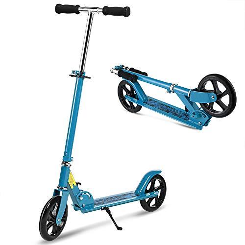 WeSkate Erwachsene Cityroller Tretroller Klappbar und Faltbar, Big Wheel City Roller Scooter Höhenverstellbar mit Doppel Federung für Erwachsene Jugendliche und Kinder ab 13 Jahre bis 100kg, Weiß