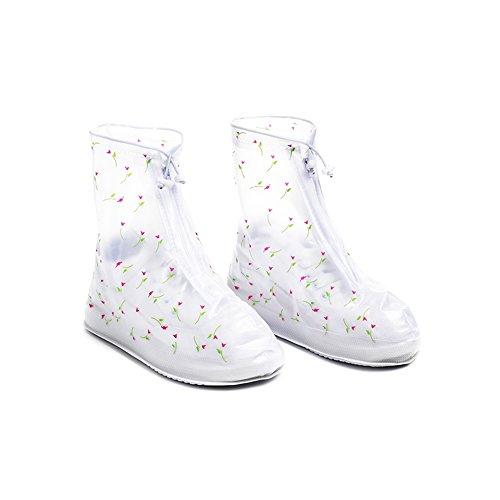 strimusimak Frauen-Turnschuh-Schuh-Abdeckungs-rutschfeste regnende Stiefel mit dem eleganten modernen Design. Weiß L