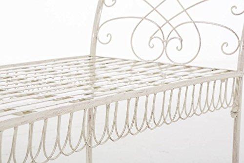 CLP Gartenbank SHERAB, Chaiselongue Sitzbank Eisen lackiert, ca. 125 x 45 cm, Höhe 65 cm, Design Landhaus antik Antik Creme - 4