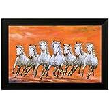 SAF 6544 Seven Running Horses||vastu Painting For Home And Office||Seven Lucky Running Horses Painting || 7 Horses Painting ||seven Horses||vastu Horses||Shyam Art 'N' Frame Exclusive Framed Wall Art Paintings(Wood,35cmx 2Cmx 50Cm Framed Painting)
