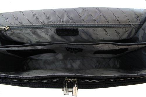 Cartable Gérard Henon New Styl' nylon garni cuir 2 soufflets GH 2329 Noir