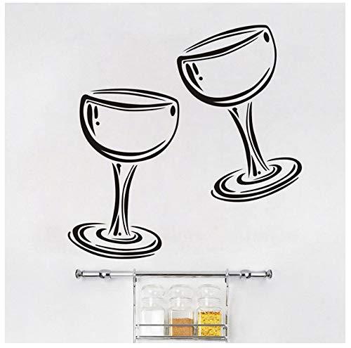 jqpwan Zwei Gläser Wein Champagner Wandtattoo Vinyl Aufkleber Restaurant Innenarchitektur Kunst Wandbilder Dekor Küche Abziehbilder Poster 59 * 59 Cm (Gläser Wein Schneeflocke)