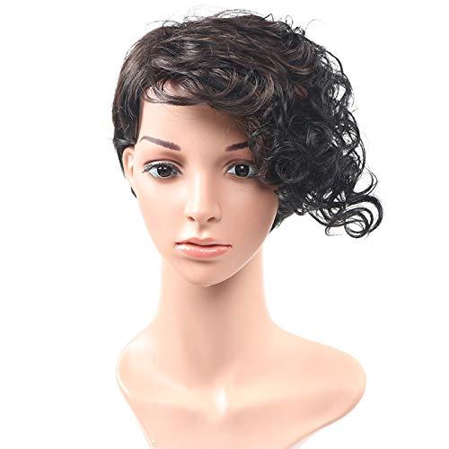 Mamas schwarze lockige lockige kurze Haare kurze blonde Perücke schwarze Perücke kurze Perückendurch WIG MINE (Mama 2 Perücke)
