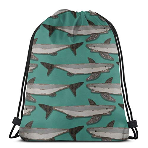 vintage cap Shark Jam_45286 3D Print Drawstring Backpack Rucksack Shoulder Bags Gym Bag for Adult 16.9