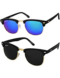Elegante Combo of UV Protected Golden Blue Mirrored & Black Clubmaster Sunglasses for Boys