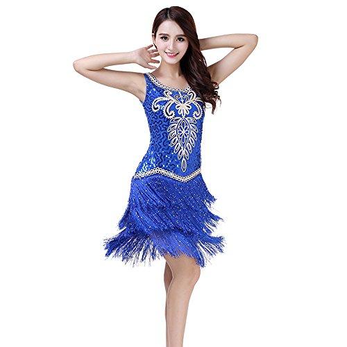 ZTXY Frauen Classic Latin Dance Rock Bestickt Kleider Pailletten Performance Suit Wettbewerb Performance Kostüm -