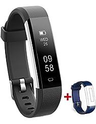 NAKOSITE RAY2433 Montre connectée sport Femme Homme Bracelet connecté Podomètre marche tracker d'activité, Calcul calories brûlées, moniteur de sommeil, Distance, Chronometre. Se connecte UNIQUEMENT aux iPhones et Android. Connexion Bluetooth 4.0 requise, pour Android 4.4 ou IOS 7.1 et plus. PLUS : SMS, Caller ID, Alarme, Fonction Anti Perte de Téléphone, Retrouver le Téléphone, Prendre des Photos, Alertes SNS pour WhatsApp, Instagram et Facebook. Couleur Noire. Sangle bleue de remplacement