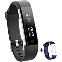 NAKOSITE RAY2433 Best Fitness Trackers Watch Pedometer and Calorie Counter Activity Tracker Smart Bracelet, Step Counter, Sleep Monitor, Distance. VeryfitPro Walking and Running App for iPhone and Android phones (Bluetooth 4.0 for Android 4.4 or IOS 7.1 and above ONLY). SMS, Caller ID, Alarm Alert, Whatsapp etc. Colour Black, Extra Blue Strap