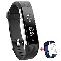 Nakosite Ray2433 Best Fitness Trackers Watch Pedometer & Calorie Counter Activity Tracker Smart Bracelet, Step Counter, Sleep Monitor, Distance. Veryfitpro Walking & Running App For Iphone & Android Phones (Bluetooth 4.0 For Android 4.4 Or Ios 7.1 & Above Only). Sms, Caller Id, Alarm Alert, Whatsapp Etc. Colour Black, Extra Blue Strap
