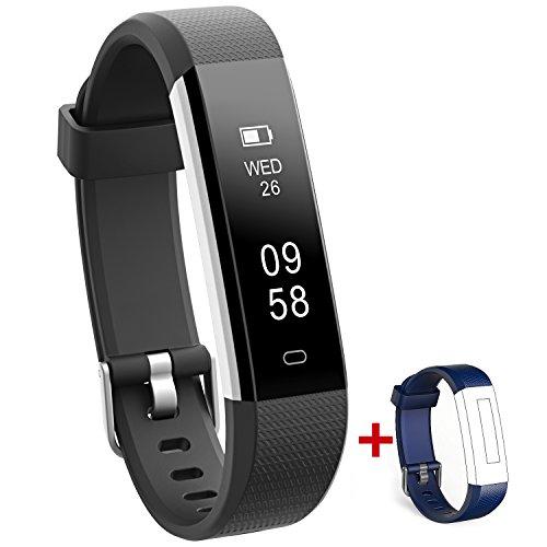 NAKOSITE RAY2433 Bester Fitness Trackers Schrittzähler Armband Uhr Aktivitäten Tracker Damen Herren Kinder, Kalorienzähler, Schlafüberwachung, Distanz, Stoppuhr, mit Lauf App von VeryFitPro. Verbindet sich NUR mit iPhone und Android Telefonen. Erfordert Bluetooth 4.0, für Android 4.4 oder IOS 7.1 und neuer. SMS, Anrufer ID, Alarm, Anti-Telefonverlust, Telefon Finden, Bilder Aufnehmen, SNS Benachrichtigungen, wie WhatsApp, Instagram, Facebook usw. Farbe Schwarz. Ersatz blaues Band Kinder-armbanduhr-ersatz-band